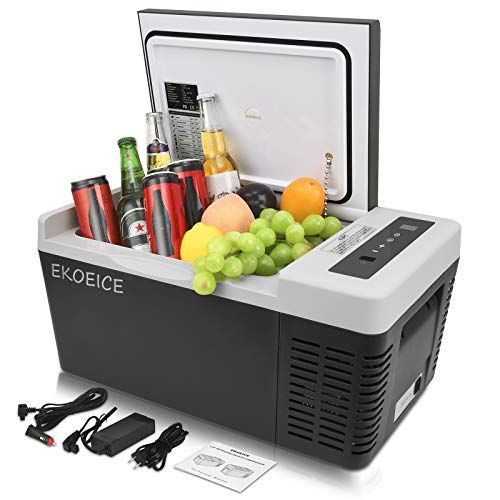 EKOEICE Portable Refrigerator for Car 20 Quart (18L) 12V Compressor Freezers with 24V DC and 110V/240V AC Mini Car Fridge Electric Cooler