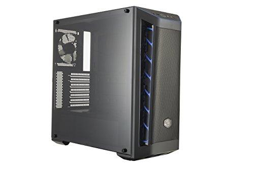Cooler Master MasterBox MB511 - Boîtier Moyen tour PC Gaming ATX avec panneau de maille avant, entrées d'air Racing, panneau latéral transparent, flexibles configurations de flux d'air - Accent BLEU