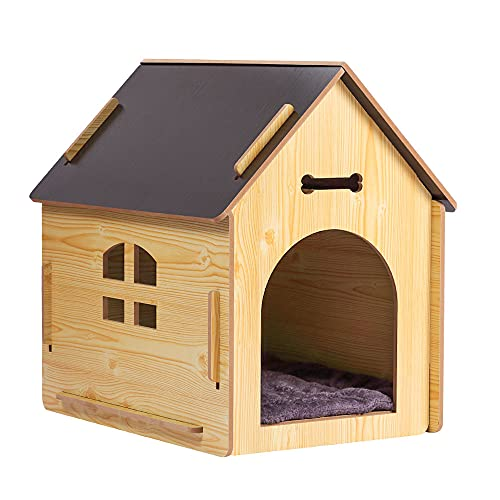 DREAMSOULE Wooden Pet House with Roof for Dogs Indoor and Outdoor Use, Easy Assemble Breathable Dog Crate for Small Medium Dog Cat, Dog Kennel for Playing and Resting