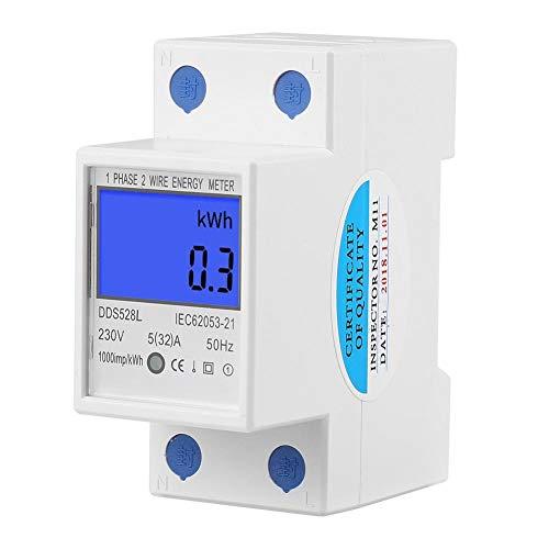 Ftvogue - Misuratore di Consumo Elettrico Monofase, Guida DIN con Schermo Digitale LCD Retroilluminato, 5-32A, 230V