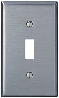 Leviton 84001-40 1-Gang Toggle Device Switch Wallplate, Standard Size, Device Mount, Stainless Steel