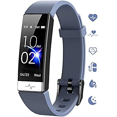 GOGUM Fitness Tracker, Heart Rate Monitor IP68 Waterproof Activity Tracker HRV Health Watch SPO2 Blood Oxygen Blood Pressure with Sleep Monitor and 11 Sport Modes for Women and Men (Gray)