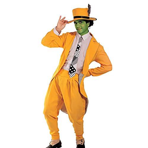LxUqaq Disfraz de Cosplay de Jim Carrey, la mscara, disfraz amarillo de superhroe manaco para hombre