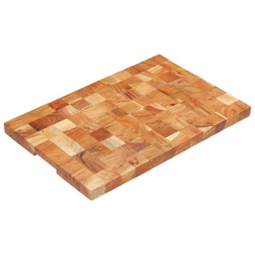 VidaXL Bloc de hachage en bois d'acacia massif 60 × 40 × 3,8 cm