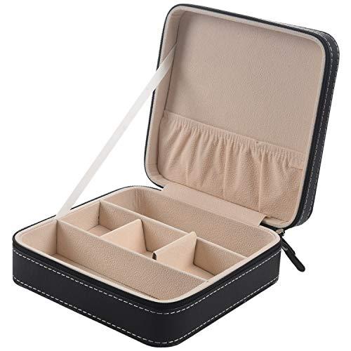 Casinlog Portátil PU cuero gafas de sol caja de viaje joyería caja de almacenamiento rejilla pequeña gafas caja cremallera bolsa contenedor caja de regalo