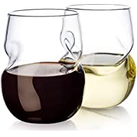 Set of 2 Dragon Glassware Stemless Wine Glasses With Finger Indentations 16-Ounce