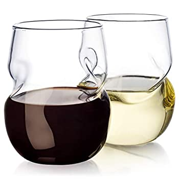 Dragon Glassware Wine Glasses Stemless with Finger Indentations 16-Ounce Set of 4