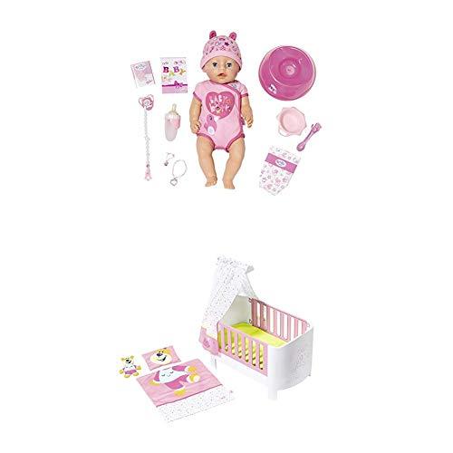 Zapf Creation 824368 Baby Born Soft Touch Girl Blue Eyes Puppe, bunt + Baby Born 827420 Magisches Himmelbett, bunt