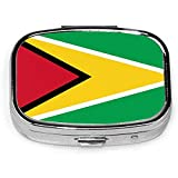 Caja de pastillas cuadrada plateada de moda personalizada con bandera de Guyana, soporte para tableta de medicina, estuche organizador de cartera para bolsillo o bolso