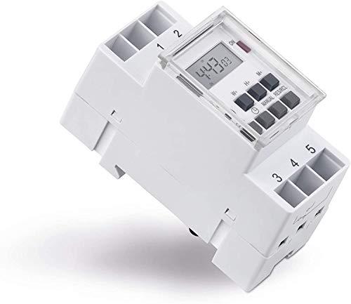 mumbi Digitale Zeitschaltuhr für Hutschiene Schalttafel-Einbau 10 Schaltprogramme Wochen-/Tages- und Minutenprogramm Sommerzeit + 12/24h Timer 3600W IP20