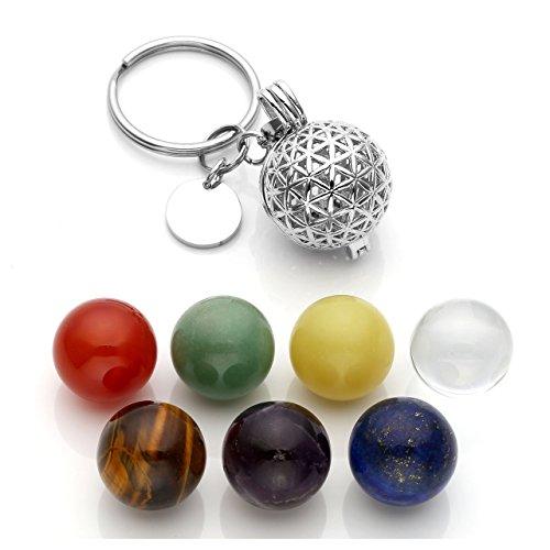 CrystalTears Schlüsselanhänger hohl Medaillon Käfig Locket Anhänger mit Edelsteine Kugeln Schlüsselbund Blume des Lebens mit 7 Chakra Stein