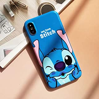 Ultra Slim Fit Soft TPU Blue Stitch Case for iPhone Xs Max 6.5 Inch 2018 Walt Disney Cartoon We Love Lilo Thin Sleek Smooth Shockproof Protective Cute Lovely Cool Stylish Gift Kids Teens Girls