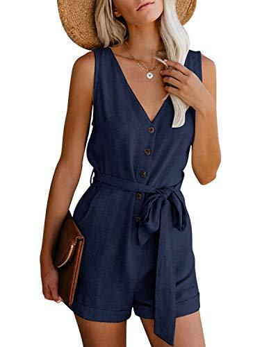 CNFIO Monos Cortos Mujer Verano Vestir Mujer Elegante Petos Mujer Verano Trabajos Pantalones Cortos A-Azul Oscuro S