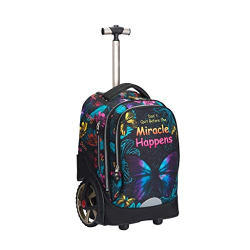 LYRWISHLY Wheeled Backpacks - Nylon Rolling Backpack with Wheels Trolley Backpack for Travel Kids Teenagers Students,Multifunction Wheeled Backpack Luggage (Size : A)