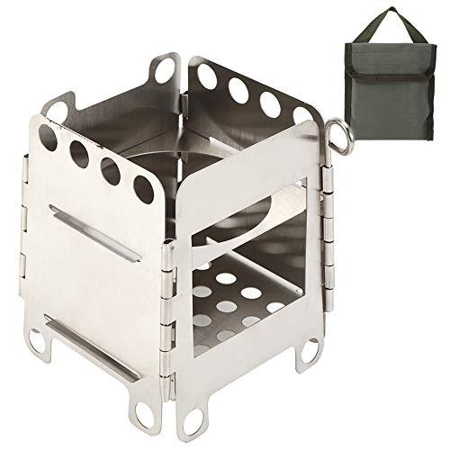 Faceuer Estufas de Campamento, Estufa de Campamento, Estufa portátil Reutilizable Estufa Plegable de Acero Inoxidable para Senderismo Camping