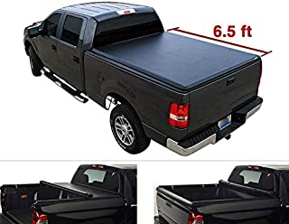 for Dodge Ram 02-08 1500 03-09 2500/3500 Pickup 6.5ft Fleetside Bed-1pc Black Vinyl Clamp On Soft Lock & Roll-up Top Mount Tonneau Cover Assembly w/Rails+Mounting Hardware