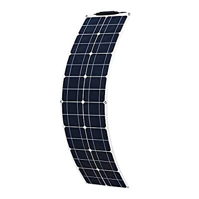 XINPUGUANG 50W 12V Solar Panel Flexible System kit Battery Charger Monocrystalline with PV Connector for RV Boat Cabin Tent Car (50w)