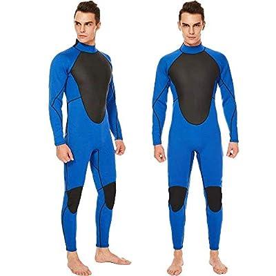 REALON Wetsuit Men Full 3mm Surfing Suit Diving Snorkeling Swimming Suit Jumpsuit (Blue, X-Large)