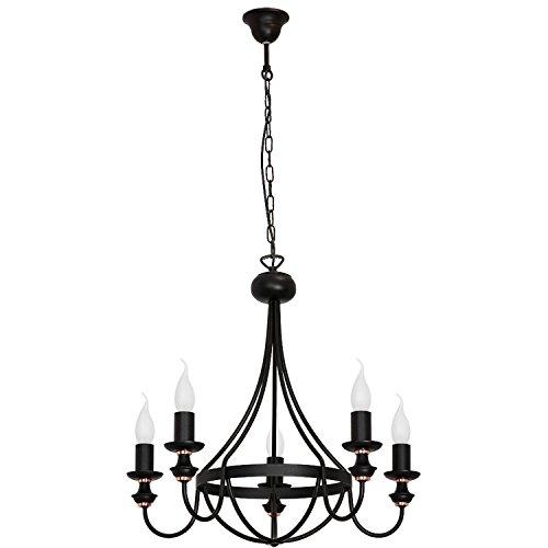 Schwarzer Kronleuchter Rustikal Metall elegant 5-flammig Beleuchtung Wohnzimmer Esszimmer Pendelleuchte
