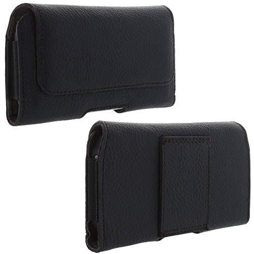 XiRRiX Echt Leder Quer Handy Tasche 2.3 4XL-Slim Gürteltasche passend für Huawei Honor 10 / P20 / P30 Lite/Nokia 7.1 2018 / Samsung Galaxy A20e / Note 10 / S10 / Xiaomi Mi A2 Lite - schwarz