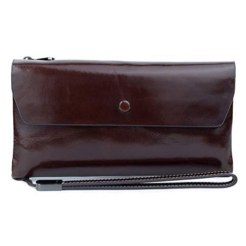 A-hyt Cómodas y cómodas carteras de piel auténtica para mujer, con bolsillo para el teléfono, pequeñas bolsas para tarjetas de mujer, fácil caminata (color: café, tamaño: A)