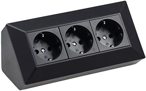 3-fach Aufbau Steckdose 230V 45° Winkel Eck Aufputz-Steckdose für Küche Arbeitsplatte Werkstatt Schwarz