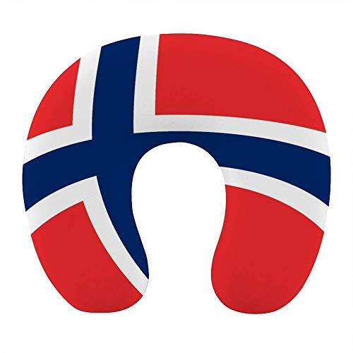 Almohada de Moda para el Cuello para Viajes en avión, Oficina en casa, cómoda Almohada para Dormir en Forma de U con Funda extraíble y Lavable, Bandera Noruega