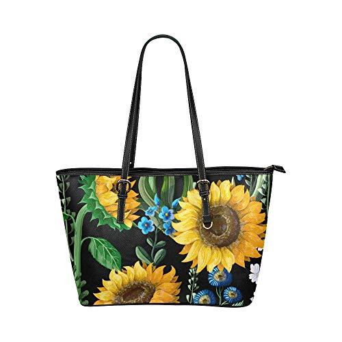 Beliebte bemalte Sonnenblume große Leder tragbare Top Griff Hand Totes Taschen kausalen Handtaschen Reißverschluss Schulter Einkaufstasche Geldbörse Organizer für Dame Girls Womens