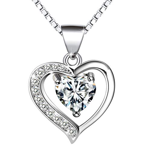 Amilril Necklace, Love Heart Pendant Necklaces 925 Sterling Silver, Fine Jewellery Elegant Gift Box