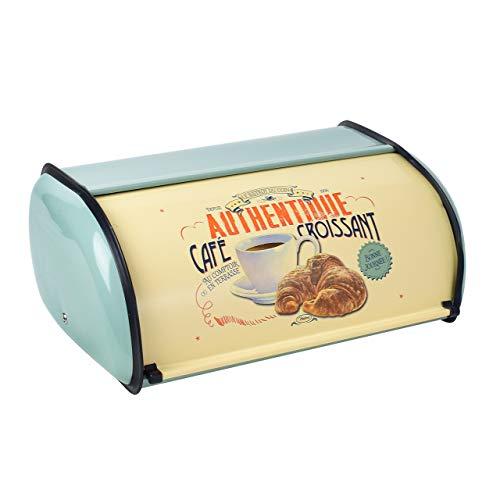 Magiin Brotkasten für Küchentheke, Metall Brotkasten mit Rolldeckel Brotaufbewahrung Küche Lagerbehälter Home Küche -Blau 13.9 * 9.1 * 5.7 inches (Grün)