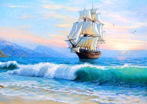 Pintura por números para adultos, principiantes, niños, kits de pintura al óleo de DIY manualidades, arte al óleo de año nuevo, recuerdos navideños Decorar 40x50cm - Viaje por mar