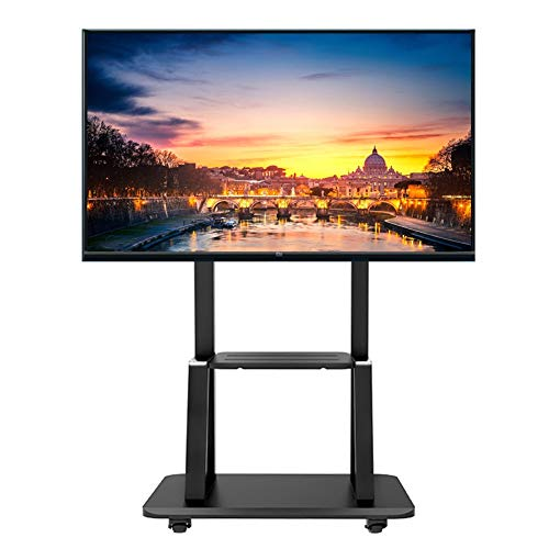 ERRU 32 to 75 Inch Universal Flat Screen Rolling TV Carts, Black TV Stand with Storage Tray/Wheels and Heavy Duty Base, Loading 110kg