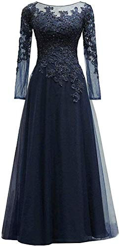 HUINI Abendkleider Spitze Ballkleider Lang A-Linie Brautjungfernkleider Brautkleid Vintage Festkleid Langarm Navy 58