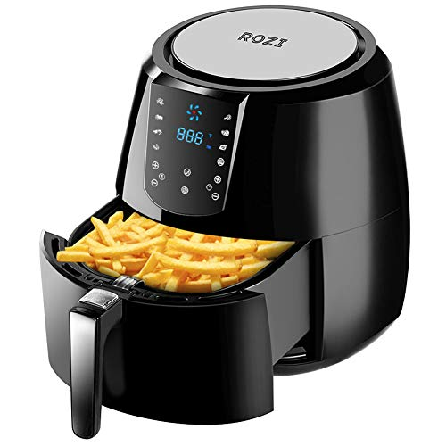 Rozi Air Fryer XXL, 5.5Qt, 1800W Electric Hot Air Fryers, Oven & Oilless Cooker for Roasting, Programmable Air Fryer with 7 Cook Presets, Stainless Steel Grill, Food Tong, 40 Recipes Included