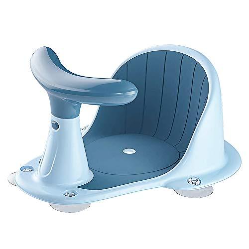 Baby-Badesitz mit leistungsstarkem Saugnapf, rutschfeste Rückenlehne, Duschstuhl, Baby-Badestuhl für Badewanne, Blau