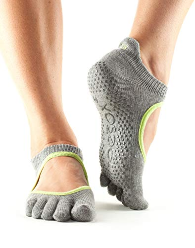 Toesox Full Toe Bellarina Calcetines de Yoga, Unisex Adulto, Gris (Heather) / Verde (Lime), S