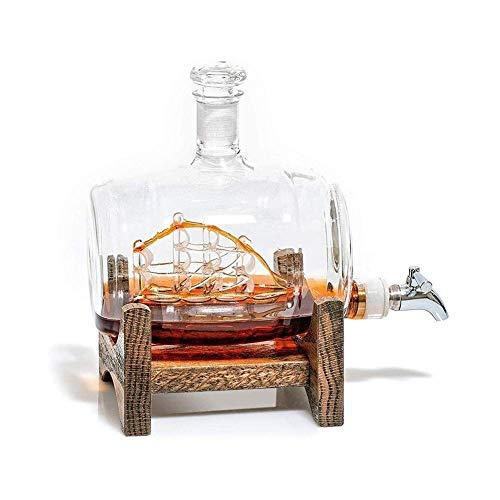 Whisky Gafas Set Whisky Jart Set Decanters Sailing Ship Steel Steel Spigot Bebidas Dispensador para Tequila Bourbon Scotch Scotch Rum Alcohol Felmess regalos para papá vasos cristal WUTONG