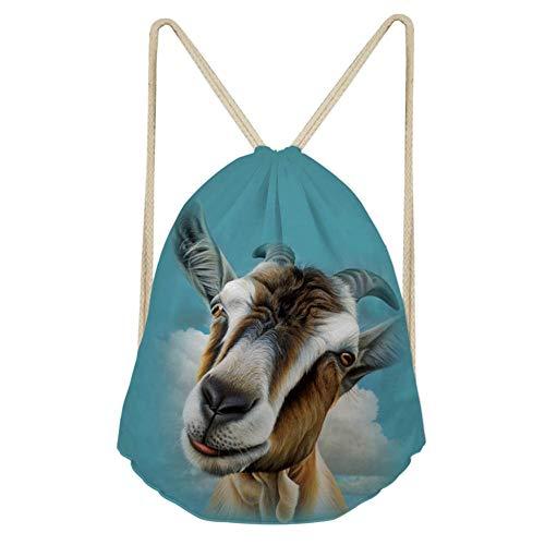 ZFRXIGN Stylish Goat Gym Sack Bag Teens Kids Party Favor Children Lightweight Trip Sport Drawstring Backpacks, Durable Sackpack Best for Holiday Present