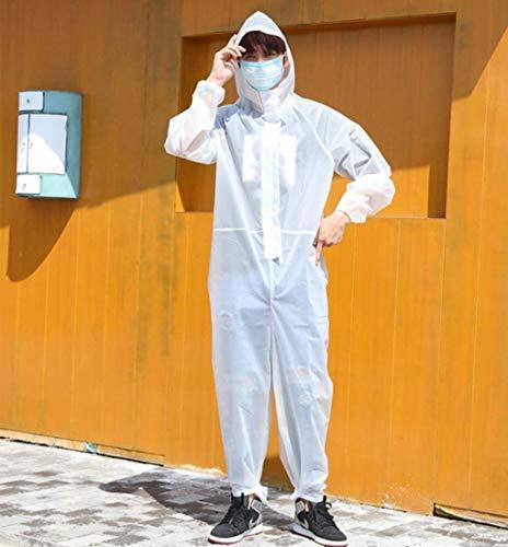 Herbruikbare beschermende isolatie Toga, EVA waterdicht stofdicht Regenjas, werkkleding, overall, overalls,White,L