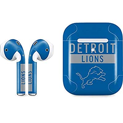 Skinit Decal Audio Skin for Apple AirPods with Wireless Charging Case - Officially Licensed NFL Detroit Lions Blue Performance Series Design