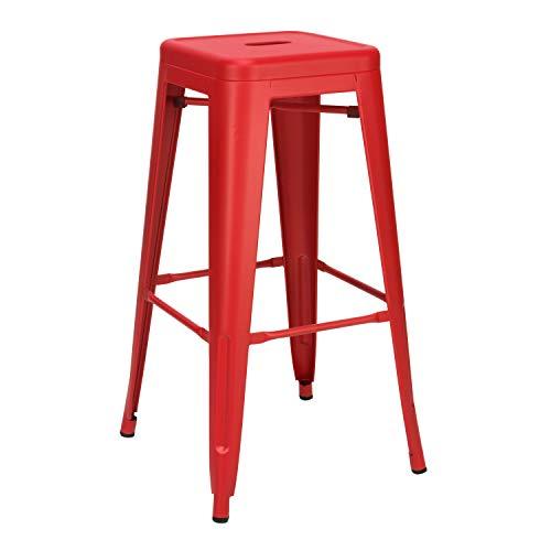 Vaukura Taburete Alto Tolix - Taburete Industrial Metálico Mate (Rojo)