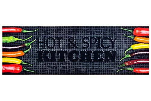 HOMEFACTO:RI Küchenläufer Küchenteppich Teppichläufer Läufer Hot & Spicy Chilli | waschbar, Größe:ca. 45 x 145 cm, Designs:Hot & Spicy Kitchen | schwarz