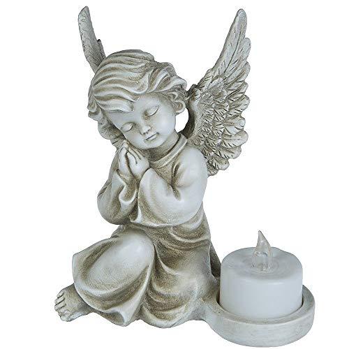 A.G.S. Deko Figur Engel Teelichthalter Grabschmuck Grabengel Weihnachtsengel Engelsfigur