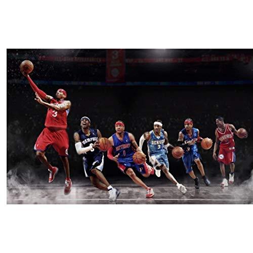 FACAIA Allen Iverson - Póster de estrella de baloncesto e impresiones en lienzo para pared, decoración del hogar, 60 x 90 cm, sin marco