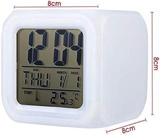 HSXOT Reloj De Alarma Digital Multifuncional con Cambio De Color De 7 Led con Fecha Reloj Despertador Cubo De Escritorio Reloj Despertador Luz Nocturna