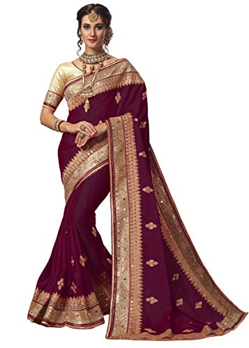 Nivah Fashion Women's Satin Embroidery Saree with Unstitched Blouse Piece (NH.K715-Purple)