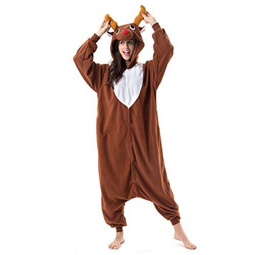 Beauty Shine Adult Unisex Animal Onesie Halloween Christmas Cosplay Plush Pajamas Costume (Coffee Reindeer, X-Large)