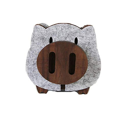DSY Coaster Pig Cup Coaster Creative Gift Black Walnut Felt Placemat Slip Wear Resistant Insulation Pad Coaster Set (Color : Gray, Size : 10x10cm)