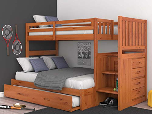 Mission Twin Over Full Staircase Bunk Bed with Trundle, Desk, Hutch, Chair and Entertainment Dresser in Honey Finish
