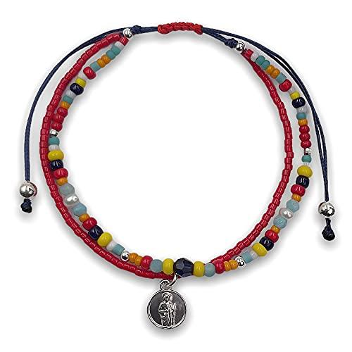 Pulsera Mujer con Swarovski, Perlas y Amazonita con San Judas Tadeo de Plata en Hilo Azul Marino
